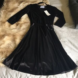Black Velvet Wrap Maternity Dress